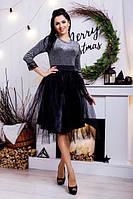 """Легкая миди юбка из евроситки """"Gemma"""" с атласной подкладкой (5 цвета)"""