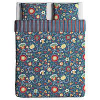 IKEA ROSENRIPS Комплект постельного белья, синий узор  (804.004.38)
