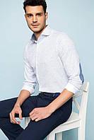 Белая мужская рубашка De Facto/Де Факто в мелкий горошек