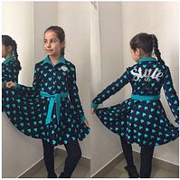 Платье детское синее,р.8,9,10,11 лет