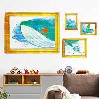 Lovely Cartoon Whale Watch Frame Детская комната украшена Теплые стикеры стены 50 * 70 см