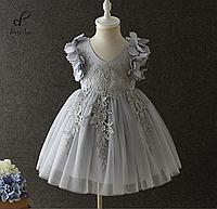 """Вечернее платье для девочек """"Жаклин"""". В стальном цвете."""