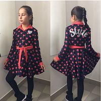 Платье детское синее с красным,р.8,9,10,11 лет