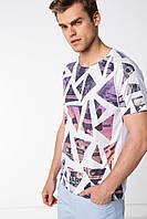 Мужская футболка De Facto/ Де Факто белого цвета с рисунком спереди