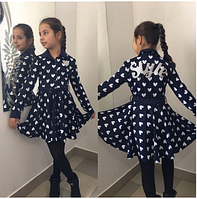 Платье детское синее с белым,р.8,9,10,11 лет