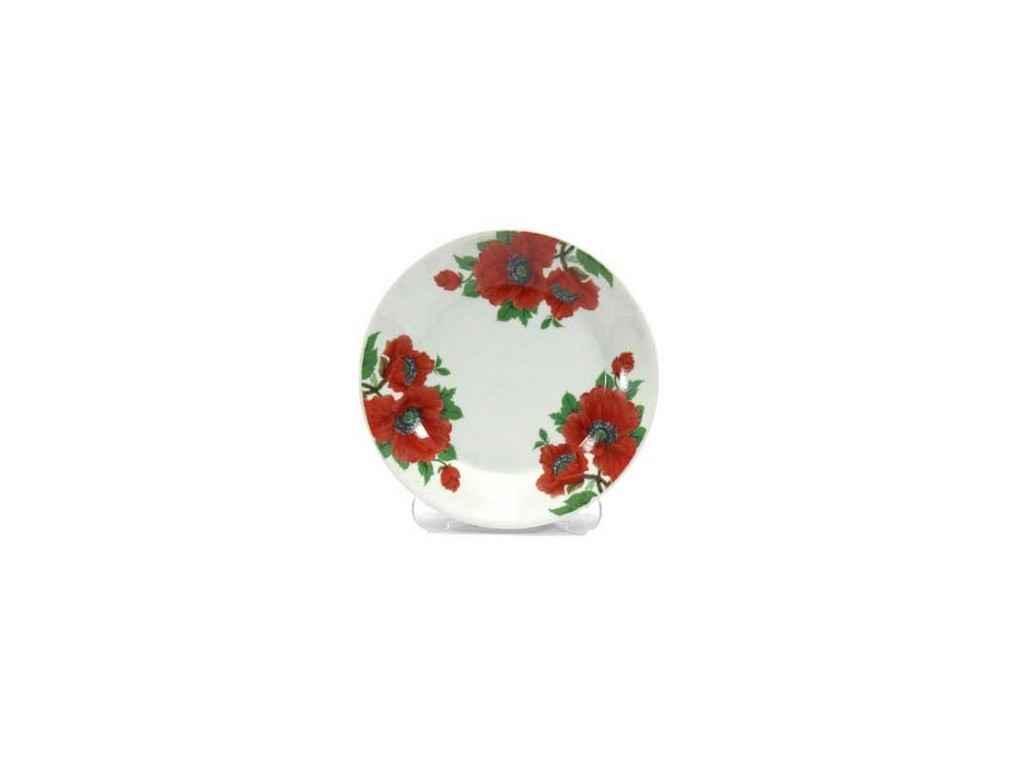 """Набір керамічних тарілок """"Маки"""" (d-20 см, 12 шт в упаковці) 8866/3110 """"INTEROS"""""""