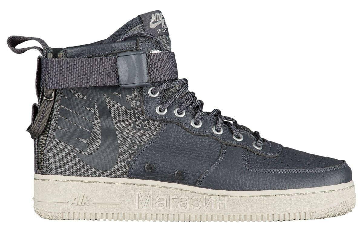 Женские высокие кроссовки Nike Special Field Air Force 1 Mid Grey (в стиле Найк Аир Форс) серые