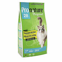 Pronature Original (Пронатюр Ориджинал) СИФУД ДЕЛАЙТ с морепродуктами сухой супер премиум корм для взрослых котов , 2.72 кг.