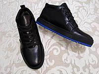 Ботинки мужские зимние кожаные SET на меху синяя подошва