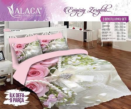 Набор постельного белья с одеялом и подушками ALACA 3D Incili Gul, фото 2