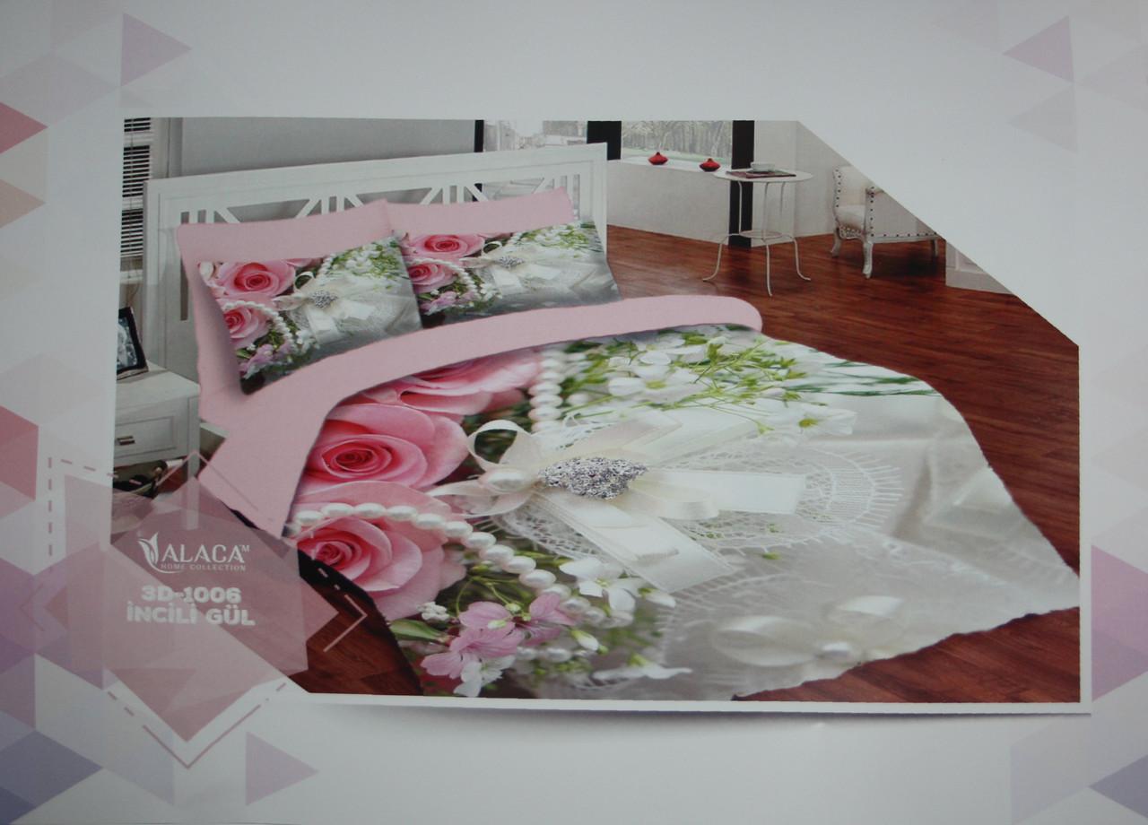 Набор постельного белья с одеялом и подушками ALACA 3D Incili Gul