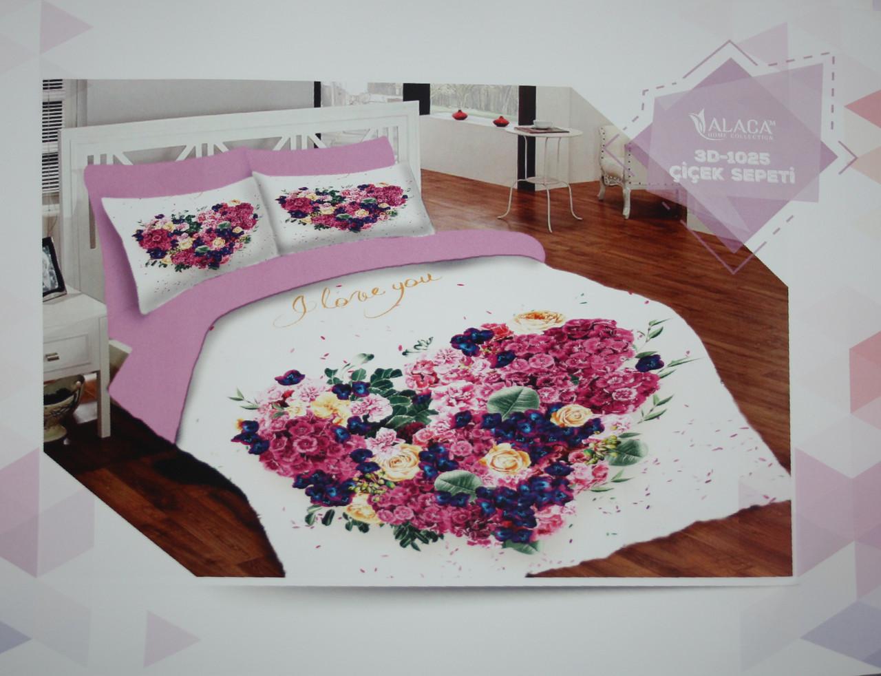 Набор постельного белья с одеялом и подушками ALACA 3D Cicek Sepeti