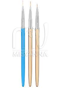 Кисти лайнеры набор Global Fashion для рисования, 3 шт металлическая ручка