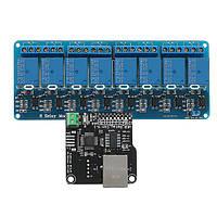 Модуль управления Ethernet с 8-канальной релейной платой для Arduino LAN WAN WEB-сервера RJ45 Android iOS