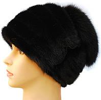 Норковая шапка с песцом женская,Оксана (черная)