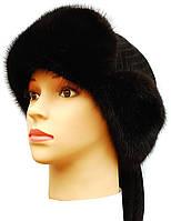 Меховая шапка норковая,Ушанка-воротник (черная)