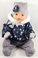 Зимний комплект курточка, полукомбинезон, шапка, шарф, варежки для куклы Baby Born
