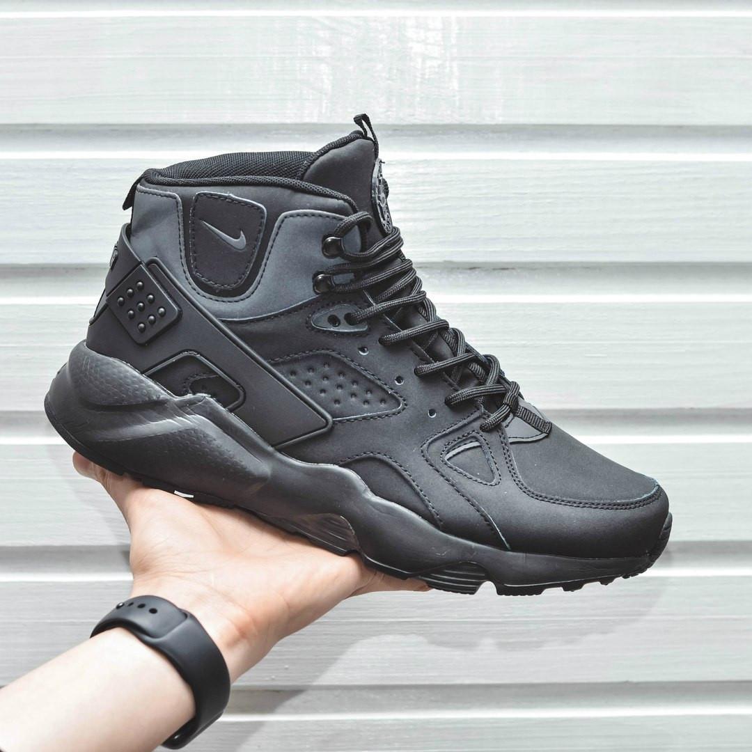 Мужские кроссовки с термоноском Nike Air Huarache High Full Black черные