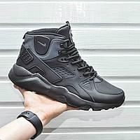 Мужские кроссовки Nike Air Huarache High с термоноском черный цвет (Реплика AAA+)