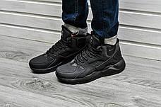 Мужские кроссовки с термоноском Nike Air Huarache High Full Black черные, фото 2