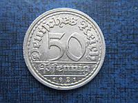 Монета 50 пфеннигов Германия 1921 J