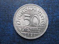 Монета 50 пфеннигов Германия 1921 Е перегравировка штемпеля с 1920 !