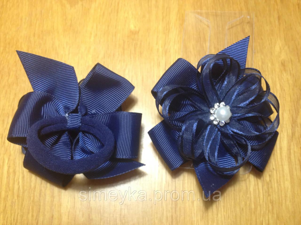 Бантики нарядные из ленты на резинке, 8*7 см, упаковка 2 шт. (пара) одного цвета. Тёмно-синие