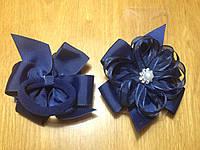 Бантики нарядные из ленты на резинке, 8*7 см, упаковка 2 шт. (пара) одного цвета. Тёмно-синие, фото 1