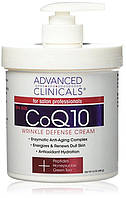 Advanced Clinicals CoQ10 Защитный крем для морщин с пептидами, жимолостью и зеленым чаем