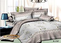 """Комплект постельного белья двуспальный, ранфорс, """"Клетка с цветами"""""""