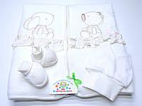 Набор на выписку с красивой вышивкой (конверт-трансформер, шапочка, пинетки)