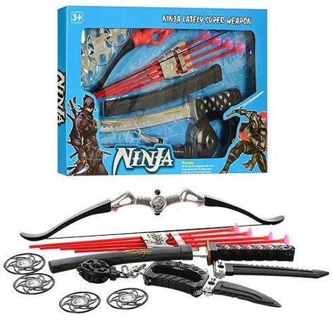 Игровой набор оружия ниндзя лук,стрелы,меч,сюрикен,маска, фото 2