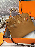 Элегантная женская сумка Hermes Birkin 35 см рыжая