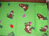 """Детское постельное белье """"Маша и медведь на зеленом """""""