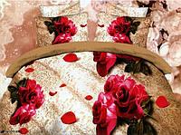"""Комплект постельного белья двуспальный евро, 3D """"Розы на кружевах"""""""