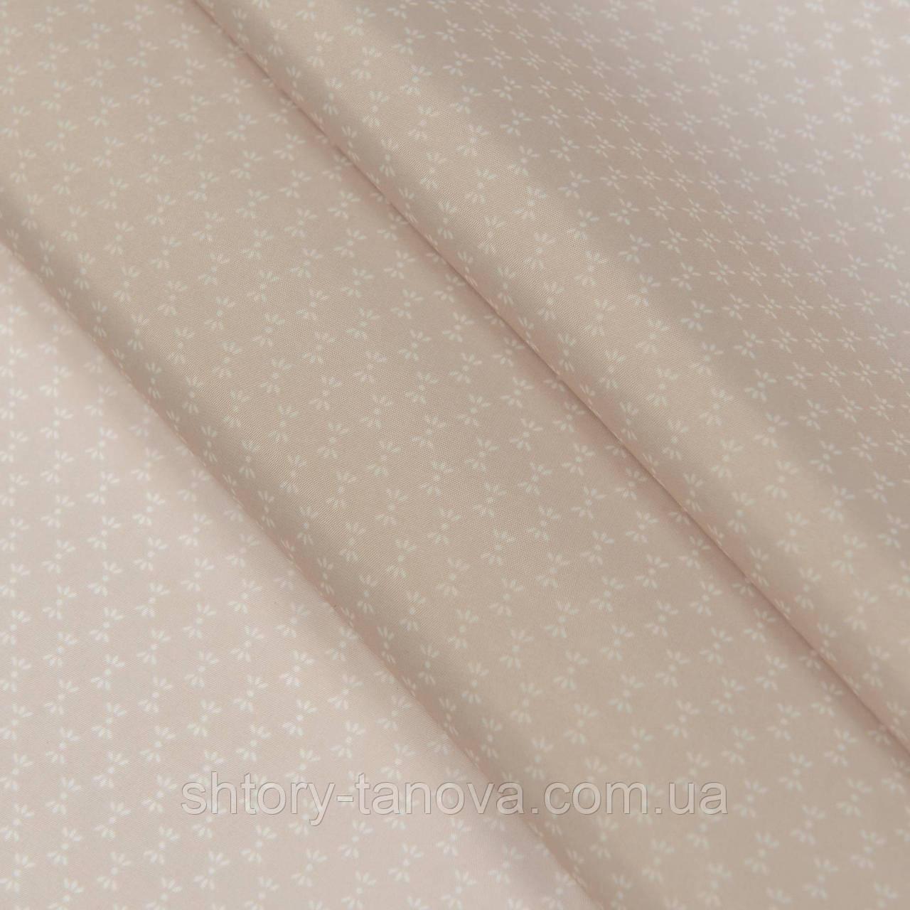 Подкладочная ткань, 100% политэстр, с новогодним принтом, снежинки, светло-бежевый