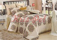 Комплект постельного белья  полуторный Бязь 150х220 Решетка на бежевом