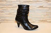 Сапоги женские черные на каблуке натуральная кожа Д72 р 39