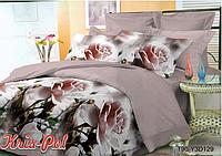 """Комплект постельного белья полуторный, п/э 3D """"Пудровые розы"""""""