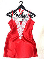 Красный пеньюар с белым кружевом, одежда для сна.