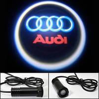 Логотип на дверь авто LED LOGO 010 AUDI, светодиодный дверной логотип, логотип эмблема audi