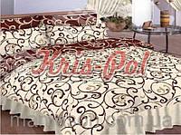 Комплект постельного белья  полуторный Бязь 150х220 Вензель бежевый
