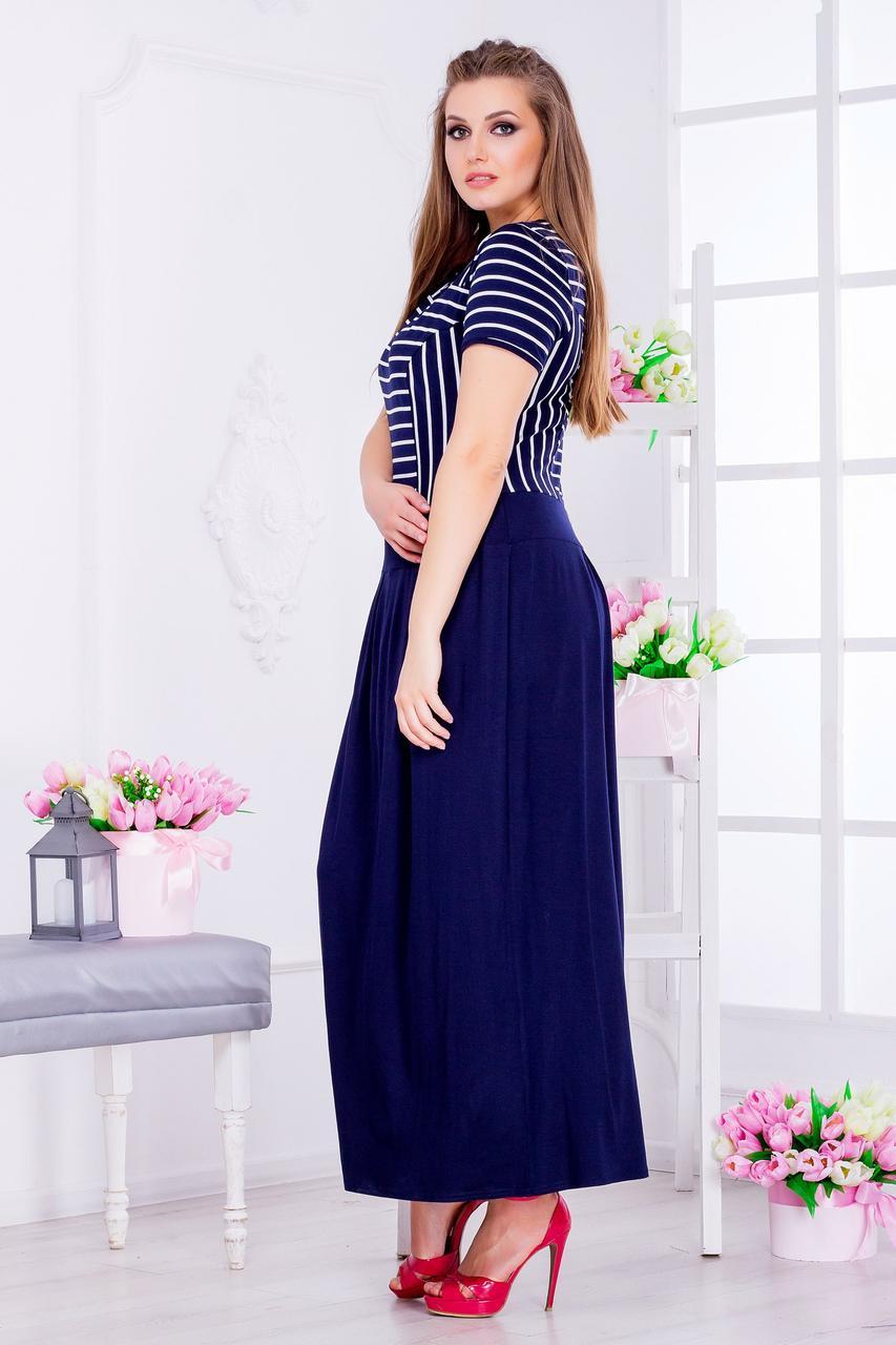 Женское платье морячка юбка однотонная (46-64) 8178