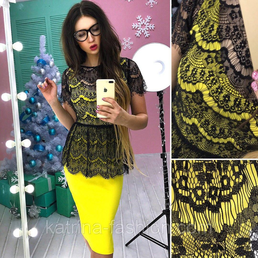 0e2098f785a Женский модный костюм  гипюровая баска и юбка-карандаш (5 цветов ...