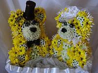 Свадебные Медведи  (25 см), композиции из цветов для свадьбы, свадебное оформление стола, Киев