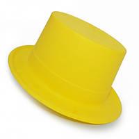 Шляпа Цилиндр Пластик Флок с лентой