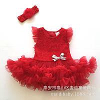 Платья для маленьких девочек. Платье для малышки красное с повязкой