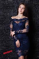 Красивое коктельное платье из дорого вышитого кружева