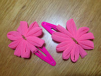 """Защёлка для волос """"тик-так"""" (клик-клак) с цветком, уп. 2 шт. (пара). Ярко-розовые (в реальности ярче), фото 1"""