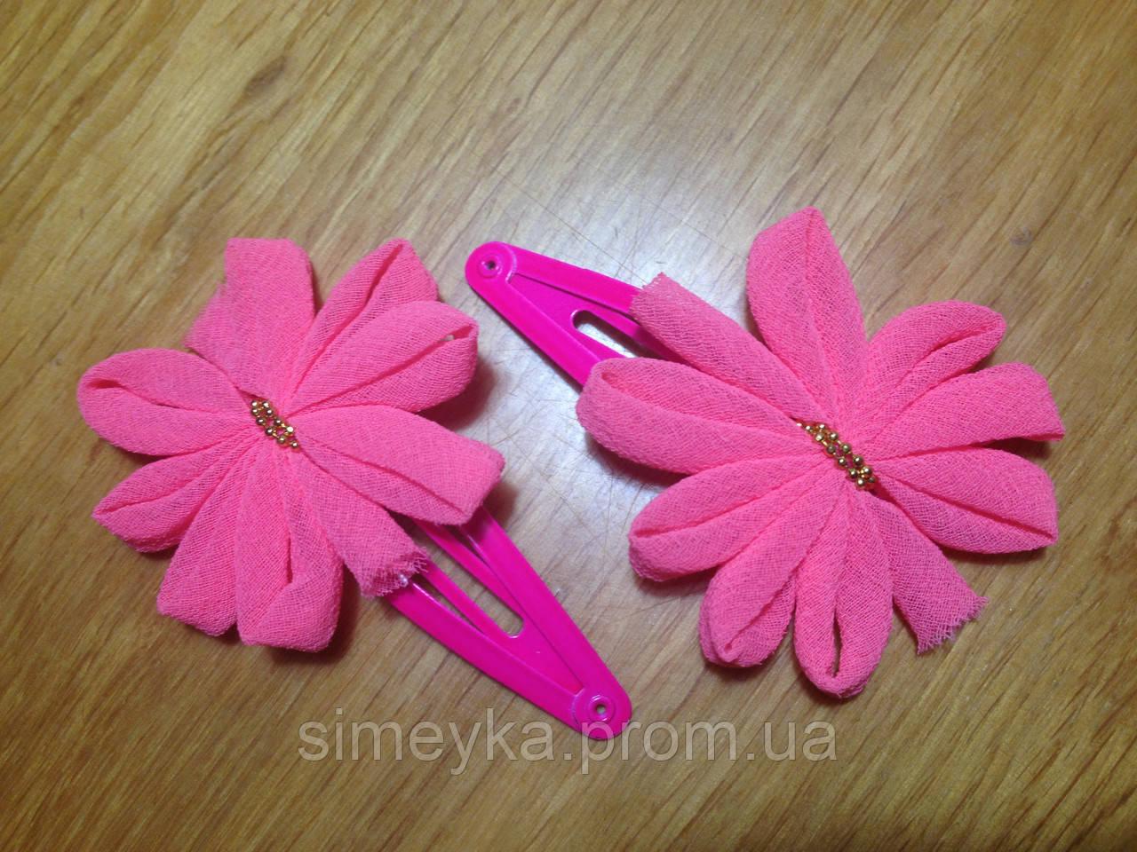 """Защёлка для волос """"тик-так"""" (клик-клак) с цветком, уп. 2 шт. (пара). Ярко-розовые (в реальности ярче)"""